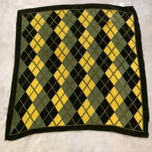 Green and Yellow Silk Scarf - Argyle Pattern
